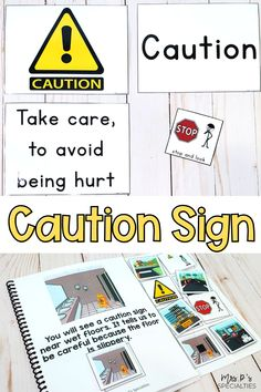 Use this adapted social studies set to teach students to identify & understand what the caution safety sign looks like. In different places of the community, this sign looks different, so it's important to teach students about the different types of caution signs and what to do when you see it in different situations. This unit is embedded with language practice to help make lesson plans, direct instruction and groups more functional for students in autism, life skills & self-contained classes. Autism Resources, Classroom Resources, Classroom Ideas, Math Skills, Reading Skills, Life Skills, Autism Classroom, Special Education Classroom, Vocational Skills
