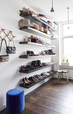 IKEA-hacks Shoe Shelf Ikea, Ikea Lack Shelves, Lack Shelf, Shoe Storage Shelf, Ikea Shoe, Shoe Shelves, Open Shelves, Shoe Rack Hacks, Exposed Closet