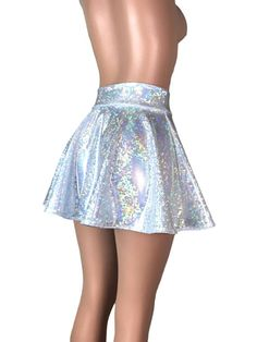 8942654915e6c3 Holographic Silver Shattered Glass High Waisted Skater Skirt - Clubwear