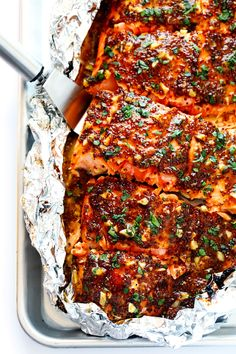 Honey Mustard Salmon in Foil. Honey Mustard Salmon in Foil-- This healthy easy-to-make mouthwatering salmon can be done in the oven or on the grill! Salmon In Foil Recipes, Fish Recipes, Seafood Recipes, Oven Salmon Foil, Grilled Salmon Recipes, Seafood Meals, Tilapia Recipes, Grilled Fish, Pasta Recipes