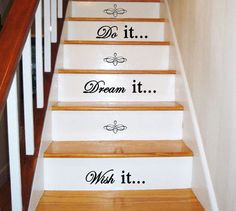 (1) Wish it... Dream it... Do it... - Staircase - Art Wall Decal Vinyl Decal Quote on Wanelo