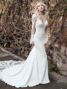 A high-class lace bell sleeve mermaid wedding gown for the sophisticated bride designed by Maggie Sottero. Find your one-of-a-kind bridal gown today! Crepe Wedding Dress, Maggie Sottero Wedding Dresses, Perfect Wedding Dress, Dream Wedding Dresses, Designer Wedding Dresses, Bridal Dresses, Wedding Gowns, Lace Wedding, Geek Wedding