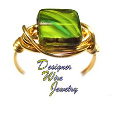 DWJ0576 Stunning Amazon Jungle Green Czech Art Glass Gold Wire Wrapped Ring All Sizes