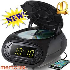 Memorex MC7264 CD Top Loading CD Dual Alarm Clock AM/FM Stereo Radio with 0.9-Inch Green LED Display and 3.5mm Aux Jack & Headphone Jack input (Black)