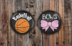 Basketball and Pink Bow chalkboard style basketball theme gender reveal pins Basketball Gender Reveal, Gender Reveal Party Games, Gender Reveal Party Decorations, Reveal Parties, Pregnancy Gender Reveal, Baby Shower Gender Reveal, Pregnancy Photos, Pregnancy Tattoo, Baby Reveal Cakes