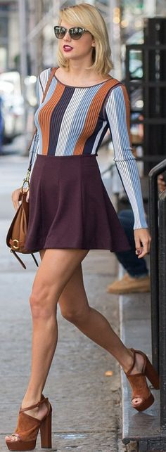 Who made  Taylor Swift's brown suede platform sandals, purple skirt, black sunglasses, and blue stripe top?