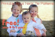 FREE PDF printable sewing pattern for boys neck ties - 3 patterns with 5 sizes from 0 - 5 years old