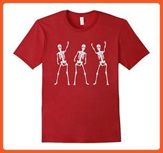 Mens Halloween Smiling Dancing White Skeletons Funny T-Shirt Small Cranberry - Funny shirts (*Partner-Link)