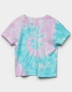 Roxy x Barbie Tie Dye Tee. Soft cotton t-shirt with allover spiral tie dye wash. Ribbed crew neckline. Short sleeves. Relaxed fit. 100% cotton. Machine wash. Imported. Street Clothes, Street Outfit, Spiral Tie Dye, Girls Tees, Dress Outfits, Dresses, Roxy, Little Girls, Barbie