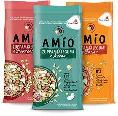 Linea zuppamiXlegumi - Amio Legumi - mix legumi e cereali, con una formulazione tale per cui una porzione da 125 g fornisce il corrispettivo nutrizionale di un pasto composto da 80 g di pasta e 100 g di carne.
