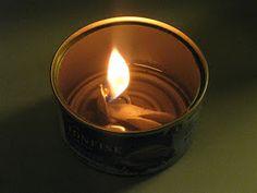 Oljelampa av tom konservburk. Oillamp from emty tincan.