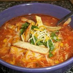 Slow Cooker Chicken Tortilla Soup. Absolutely amazing. You don't need to cook the chicken before hand like the recipe says.
