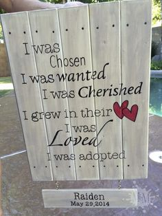 Make & Paint your own Rustic Wooden Sign following this easy tutorial.  (This DIY Wooden Sign celebrates adoption.)