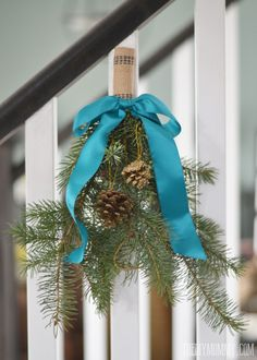 2014 Christmas Home Tour: A Teal & Green Vintage Inspired Christmas I made with clippings from my mom's pine trees, some pine cones, some upholstery webbing, and teal satin ribbon. Blue Christmas Decor, Black Christmas, Merry Little Christmas, Christmas 2014, Christmas Decorations, Holiday Decorating, Christmas Inspiration, Holiday Ideas, Christmas Ideas