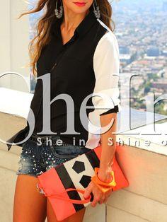 Black+Contrast+Raglan+Sleeve+Pockets+Blouse+17.99