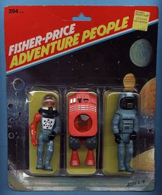 "Fisher-Price ""Adventure People"" space figure assortment ( - consists of (L to R) Brainoid ( Opticon ( and Alpha Pilot ( Fisher Price Toys, Vintage Fisher Price, Retro Toys, Vintage Toys, Toy Bins, Space Toys, Space Pirate, Vintage Space, Vinyl Toys"