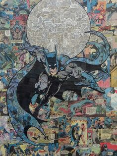 Comic Collage Art. Mike Alcantara uses comics to produce one of a kind illustrations without the use of paint or markers.  For more Information and more of these Images, Press the Image.
