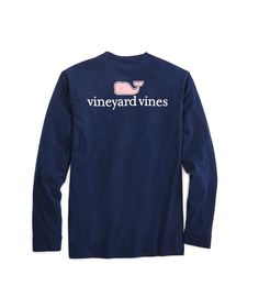 772857a689f44b Vineyard Vines Long-Sleeve Logo Graphic Pocket T-Shirt - Vineyard Navy