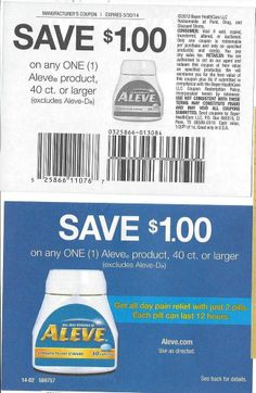 10 Coupons Save $1.00 on any (1) Aleve Product 05/30/2014