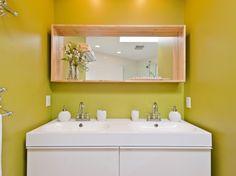 Ikea Godmorgen vanity and mirror, Chinese Artichoke paint - General Paint  | Home Reworks Interior Design | Randal Kurt Photography