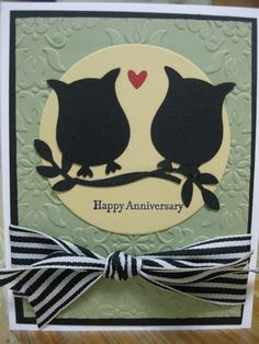 """The Owl punch is SO fun to use especially with Anniversary Cards. Here's one we did at our All Occasions Stampin' Up class - fun, fun Supplies: Stamp Set: Teeny Tiny Wishes (115370, page 157) Card Stock: Whisper White, Basic Black, Pear Pizzaz, So Saffron, Real Red Ink: Basic Black Embellishment: 1 ¼"""" Basic Black Striped Grosgrain Ribbon Punches: Owl Builder (118074, page 213), Bird Builder (117191, page 213) Big Shot: Vintage Wallpaper Textured Impression Embossing Folder (120175, page…"""