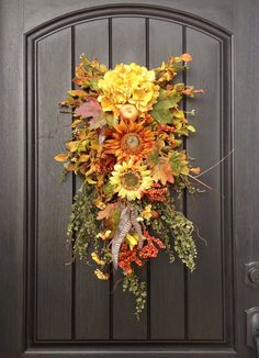 Fall Wreath Thanksgiving Autumn Teardrop by AnExtraordinaryGift, $78.00