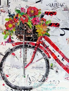 Get Your Spring Fix Art Print Torn Paper Collage Print featuring the painting Get Your Spring Fix by Suzy Pal Powell Magazine Collage, Magazine Art, Ideas Magazine, Paper Collage Art, Collage Collage, Flower Collage, Collage Artists, Flower Art, Bicycle Art