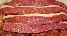 Biltong recipe (in Afrikaans) translated Meat Recipes, Recipies, Biltong, Mixture Recipe, Meals For One, Steak, Bacon, Beef, Homemade