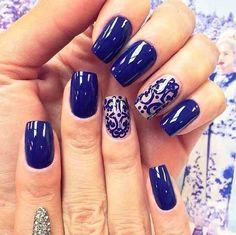 Unhas decoradas unhas perfeitas, unhas bonitas, ideias para unhas, belas un Love Nails, Fun Nails, Pretty Nails, Royal Blue Nails Designs, Nail Art Designs 2016, Nagel Stamping, New Nail Art, Prom Nails, Manicure And Pedicure