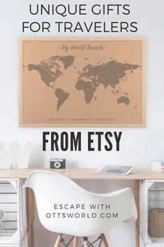 Unique gifts for travelers from Etsy. I've found the best maps, jewelry, wall hangings, photography and vintage items for the traveler in your life!