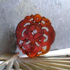 Carved Red Jade Pendant Vintage Jade Pendant Carved Bat by #Foret #JetTeam #JewelryOnEtsy