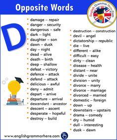 Opposite Words Vocabulary - English Grammar Here English Vocabulary Words, Learn English Words, English Grammar, English English, Vocabulary List, English Writing Skills, English Lessons, Antonyms Words List, Opposite Words List