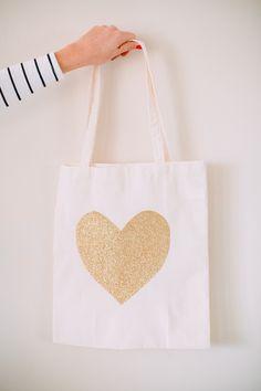 DIY glitter heart tote bag