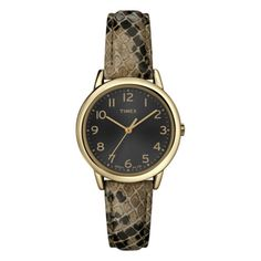 Timex Women's T2N965 Elevated Classics Taupe Python Patterned Strap Watch | Overstock™ Shopping - Big Discounts on Timex Timex Women's Watches