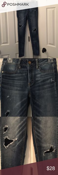 AEO HI RISE JEGGING Hi rise JEGGING, three bigger holes have patch behind them, super comfy and stretchy! Great shape! Size 2 Regular American Eagle Outfitters Jeans Skinny