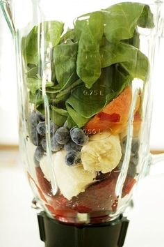YUMMY! 1 banana, roughly chopped  4 or 5 strawberries  1/2 cup fresh blueberries  1 small peach, peeled and roughly chopped  1 heaping cup (or more) fresh spinach leaves, thoroughly rinsed  splash vanilla soy milk  1 tablespoon Greek yogurt  2 teaspoons honey  1/2 cup crushed ice