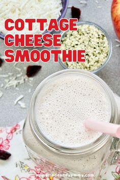 Made with cottage cheese, apples and hemp hearts, this smoothie recipe is protein-pakced with goodnedss. NO artifical flavours. #smoothierecipe #cottagecheese #healthyingredients #proteinshake