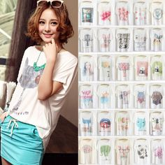 Womens T-shirt Batwing Loose Causal Short Sleeve Korean Blouse White Tee Tops in Clothing, Shoes, Accessories, Women's Clothing, Tops & Blouses   eBay