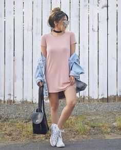 42 The Best T-Shirt Dress Outfit Ideas Perfect For Fall Season Spring Outfits, Trendy Outfits, Casual Teen Outfits, Casual Ootd, Teen Fashion, Fashion Outfits, Dress Fashion, Style Fashion, Fall Fashion