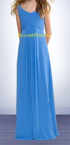 Junior Bridesmaid Dress Chiffon Long Junior by seventhprincess, $77.00