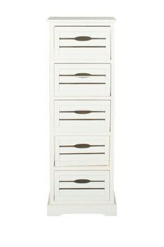 Sarina Distressed Cream 5-Drawer Cabinet