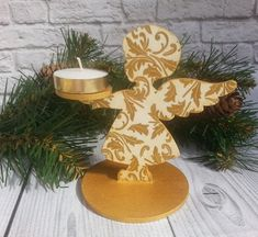 Wooden candle holder Christmas angel gold Centerpiece