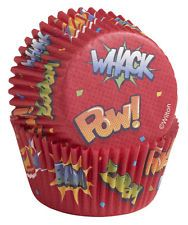Wilton Cupcake Baking Cups - POW Superhero theme 75 pk Superman Spiderman Batman