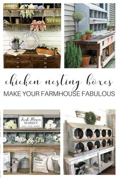 Chicken nesting coop boxes are the latest farmhouses home trend. The farmhouse craze blows our mind and we love how items are repurposed throughout the decor. This box is used to display unique vintage antique finds, flowers, wall decoration, kitchen storage, shelving, cubbies, shelving, accessories and more.   Best country decor ideas - DIY rustic furniture ideas for living, dining, mudroom, patio, porch and more.
