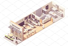 Vector isometric restaurant or cafe interior cross-section. Outdoor table under awnings, indoor hall with seats and counter, restaurant kitchen, blackboard wall Sims 4 Restaurant, Restaurant Floor Plan, Restaurant Poster, Restaurant Kitchen, Restaurant Interior Design, Cafe Interior, Restaurant Interiors, Design Café, Cafe Design