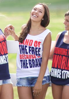 Kiss My Southern Sass - Land of the Free, Because of the Brave Tank, $25.00 (http://www.kissmysouthernsass.com/land-of-the-free-because-of-the-brave-tank/)