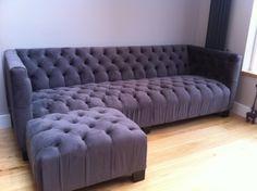 Hand made button back sofa & large footstool in Linwood moleskin velvet.  Lush!