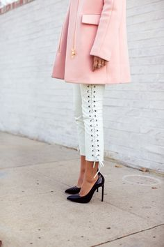 Love the white leather ribbon pants!