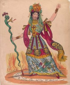 Mrs. Stanley as Ulin the Demon of Fire. Ulin does not require safety shoes to walk on the third rail.