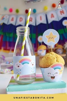 ideas baby shower varon nubes for 2019 Diy Baby Shower Decorations, Party Decoration, Baby Shower Centerpieces, 2nd Birthday Party Themes, Rainbow Birthday Party, Baby Birthday, Baby Shower Vintage, Baby Shower Desserts, Baby Shower Signs